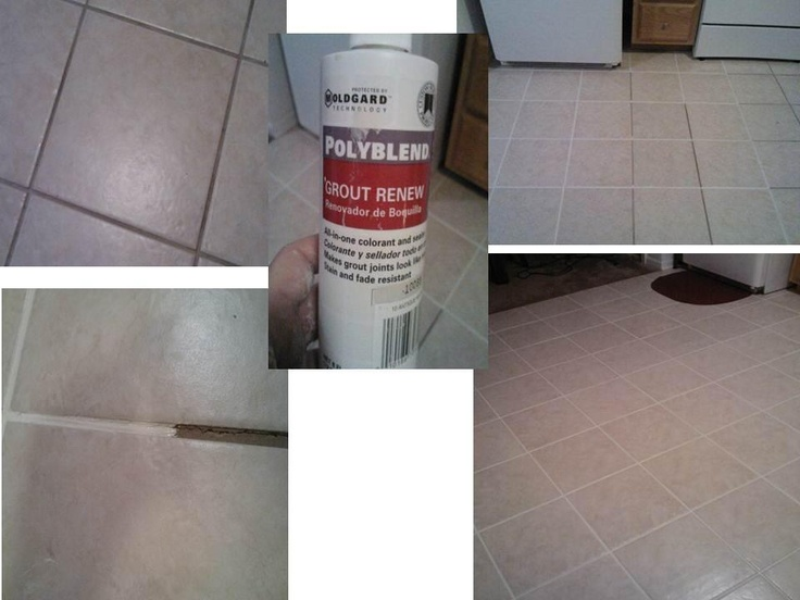 """Here is a great Idea on a cheap budget to Turn your ugly tile floors into a big WOW. Only need 4 things. Grout Color Renew, craft paint brush, cup, and baby wipes ( work the best to clean up extra). Total cost $10.99 @ Home Depot. I like to use the color """"Antique White"""" by Polyblend ( Grout Renew)"""