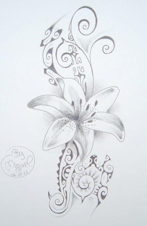 Dessin de Tatouage de Fleur sur fond de style Maori Polynésien