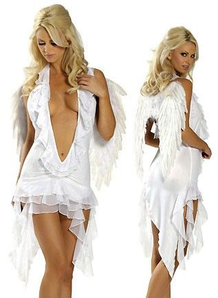 Tempting White Deep-V Skirt Angel Girl Costume