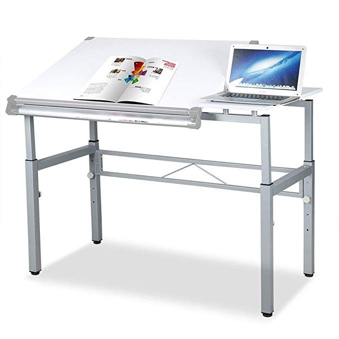 White Tilting Tabletop Height Adjustable Drawing Desk Workstation Dual Top Surface Painting Writing Reading Drawing Desk Adjustable Workstation Adjustable Desk