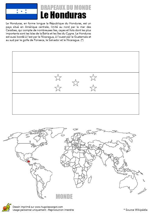 Coloriage du dessin du drapeau du Honduras