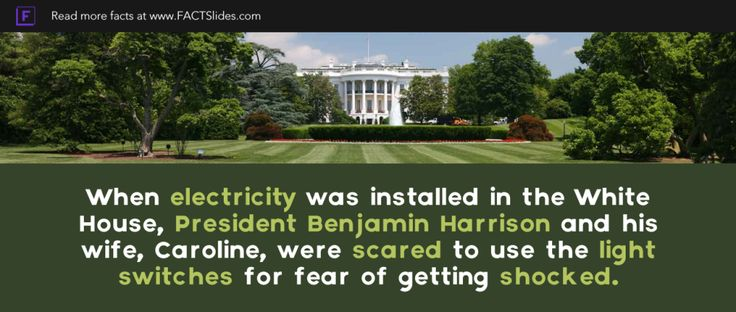 When electricity was installed in the White House, President Benjamin Harrison and his wife, Caroline, were scared to use the light switches for fear of getting shocked.