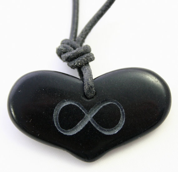 Infinity Symbol Engraved Black Stone Pendant Heart Necklace