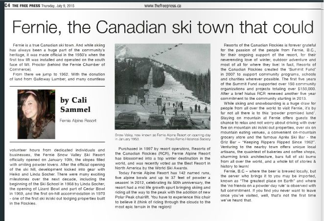 Fernie Free Press' special Tourism Feature has been released.  Check out the article about Fernie Alpine Resort on page 5!  http://issuu.com/thefreepress/docs/celebrating_tourism_in_fernie_2015