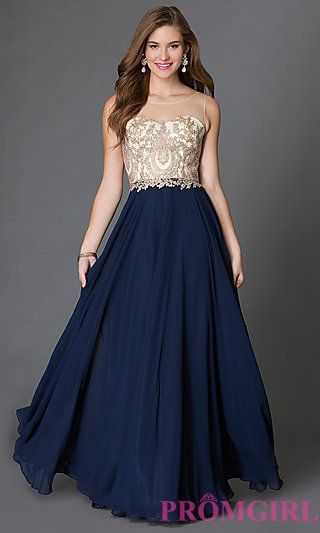 Floor Length Sleeveless Prom Dress with Embroidered Lace Embellished Sheer Bodice at PromGirl.com