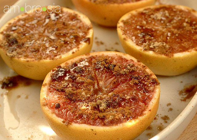 Broiled grapefruit with brown sugar and ginger... a perfect way to ...