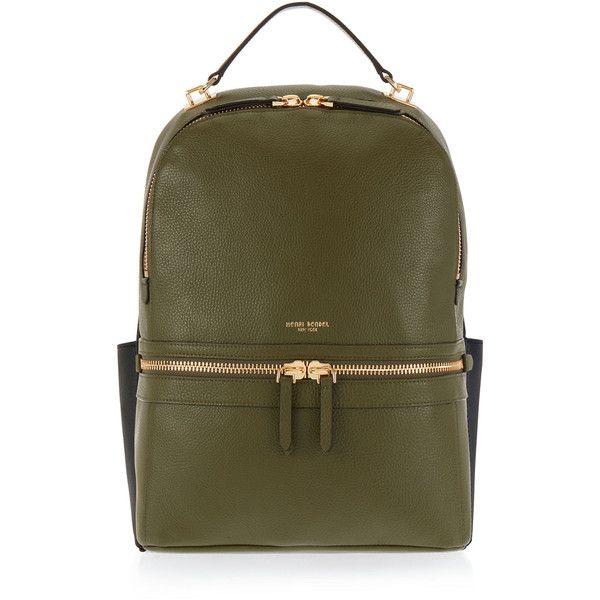 Henri Bendel Soho Backpack found on Polyvore featuring bags, backpacks, bolsas, dk green, henri bendel, green bag, padded backpack, laptop rucksack and brown backpack