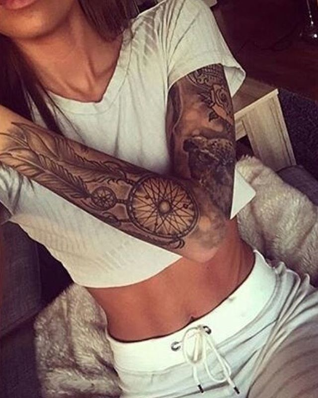 #Beautiful #sleeve #tattoos. Love the placement of the dream catcher