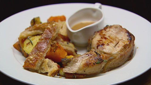 Roast pork and veges (MasterChef Australia 2011) - best crackling ever