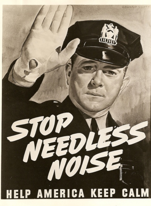 """~ Chicago Police and Noise Pollution, May 1942via Flickr""""Mayor Edward J. Kelly proclaimed the week of May 31, 1942, """"Noise Abatement Week"""" in Chicago in order to bring the evils of needless noise to the attention of Chicago residents."""