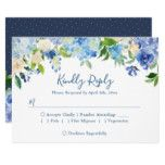 Navy Blue Hydrangeas Floral Wedding RSVP Reply Card #weddinginspiration #wedding #weddinginvitions #weddingideas #bride