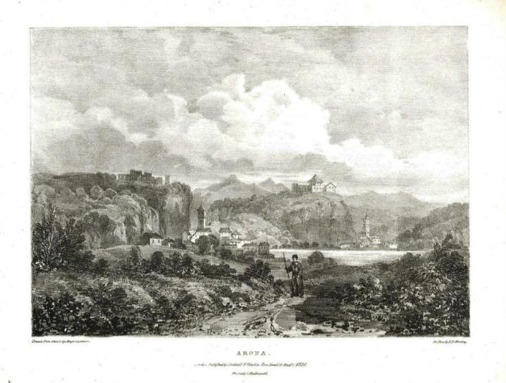 """Arona"", veduta di Arona ritratta lungo la strada del Sempione, sulla sponda opposta la città di Angera e il suo castello, Lago Maggiore - Disegno Major Cockburg e litografia di I. D. Harding. Litografia, 1822. Inserita nell'opera ""Views to illustrate the route of the Simplon, drawn from nature by Major Cockburn pubblicata a Londra da Rodwell & Martin."