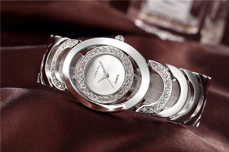 CRRJU Ladies Gold Watch Rhinestone Stainless Steel Quartz Luxury Watches for Her  women fashion jewelry watches
