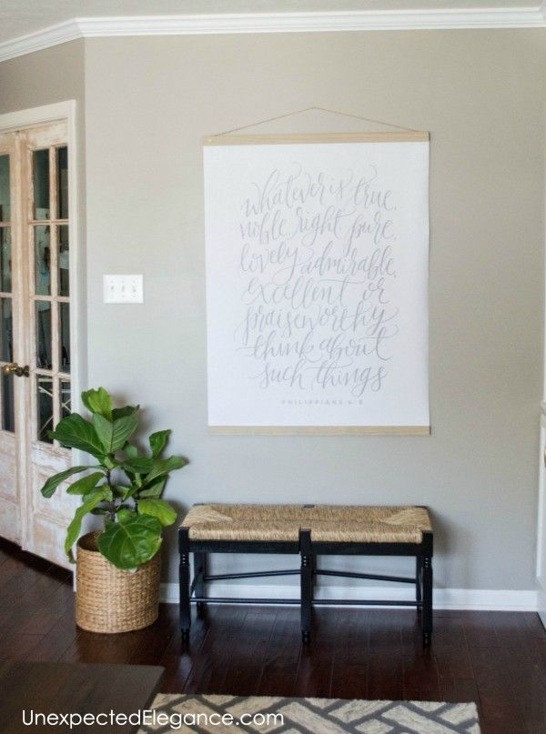 Ever need a large piece of artwork to fill a space??  Check out this easy DIY LARGE wall art tutorial to find out how to make your own!
