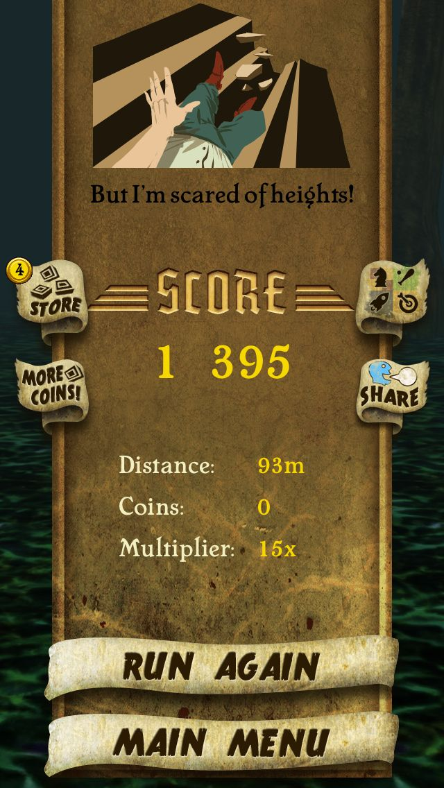 I got 1395 points while escaping from demon monkeys. Beat that! http://bit.ly/TempleRunGame #TempleRun