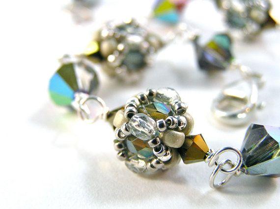 Bauble Bracelet  Beadweaving  Swarovski Crystal by knitbeadlove