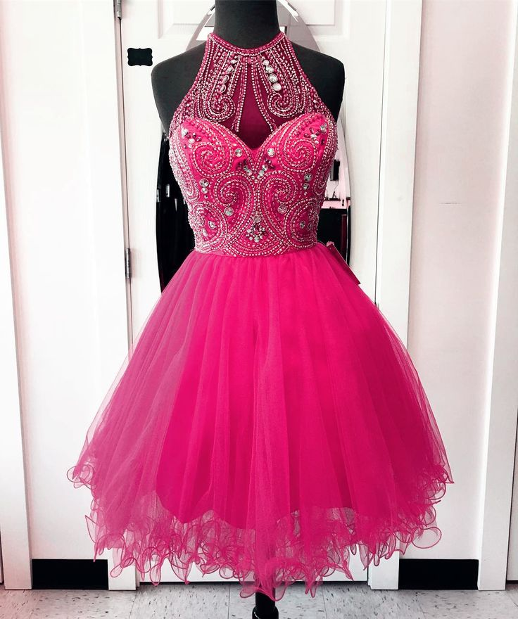 Homecoming Dress,high neck homecoming dresses,hot pink prom dresses,chic party dress,women's cocktail dress