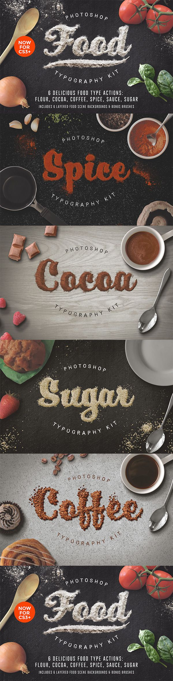 A set of 6 delicious photoshop actions to make any font look good enough to eat! Includes 6 layered food scenes from the preview images 2400x1600 @ 72dpi Bonus grainy, floury and drippy brushes to get messy with!