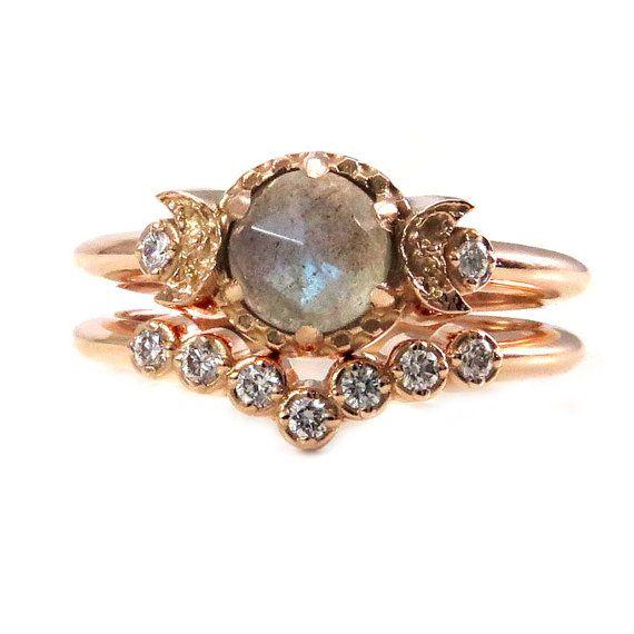 Rose Cut Labradorite and Diamond Moon Engagement Ring Set - 14k Rose Gold Bohemian Wedding Rings