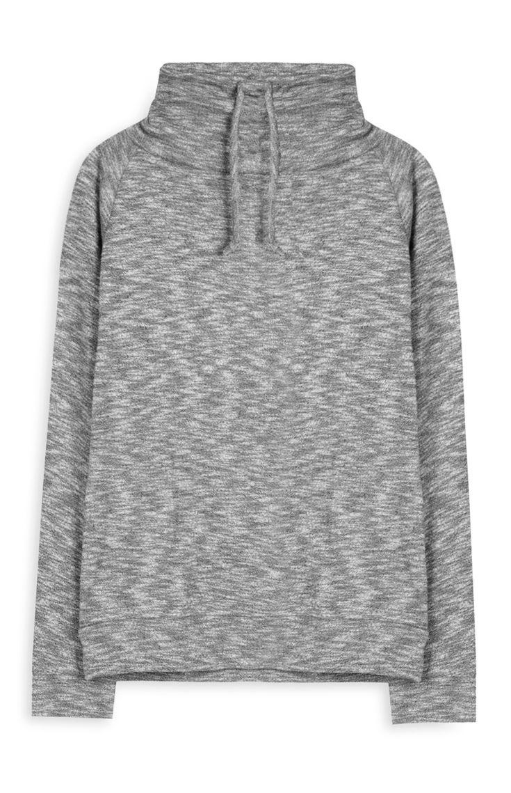 Camisola com cordão jaspeada cinzento