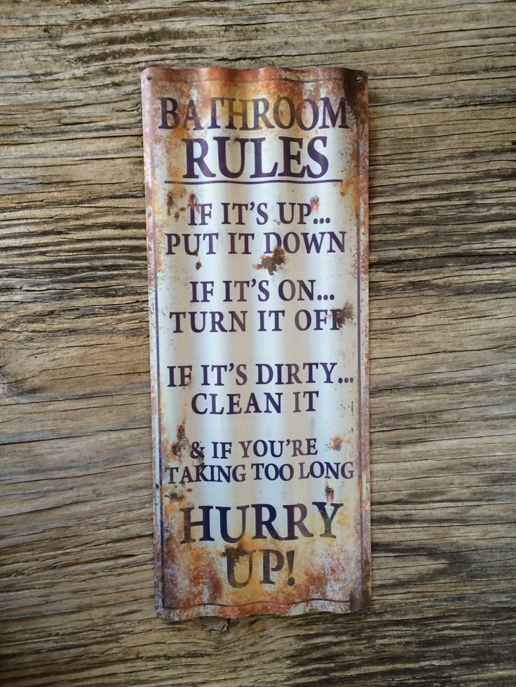 Vintage style corrugated tin metal sign // gift for her Mother's Day // shabby chic rustic nostalgic wall art // bathroom rules decor by RinTinSignCO on Etsy https://www.etsy.com/listing/266704829/vintage-style-corrugated-tin-metal-sign