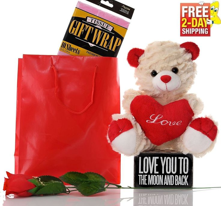Valentine's Day Gift Set for Her Him Teddy Bear Red Rose Love You Plaque Heart  | eBay