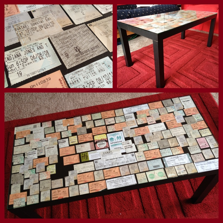 Coffee table covered with movie ticket stubs. I could totally do this with my hundreds of ticket stubs.