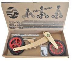 Ótima ideia de presente de primeiro aniversario: uma bicicleta sustentável que cresce com a criança, dos 18 meses aos cinco anos (ou até os 25kg). A Woodbike é fabricada no Brasil, em madeira lamin...