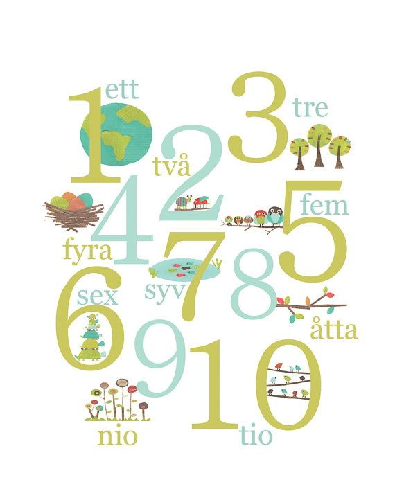 Swedish Numbers Nature Themed Wall Cards 5x7 by ChildrenInspire
