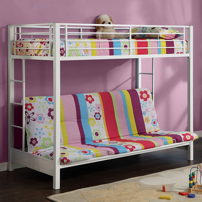 Create a multifunctional space in your bedroom with this white, futon bunk bed from Sunrise. It features a twin-size bed on top, with guardrails for extra safety. The futon on the bottom is great for lounging and can be made into a full-size bed easily.