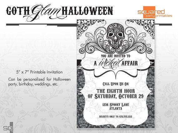 The 25 best halloween party invitations ideas on pinterest diy halloween party invitations goth glam diy printable do it yourself dia de los muertos skulls invite made to order printed invite solutioingenieria Gallery