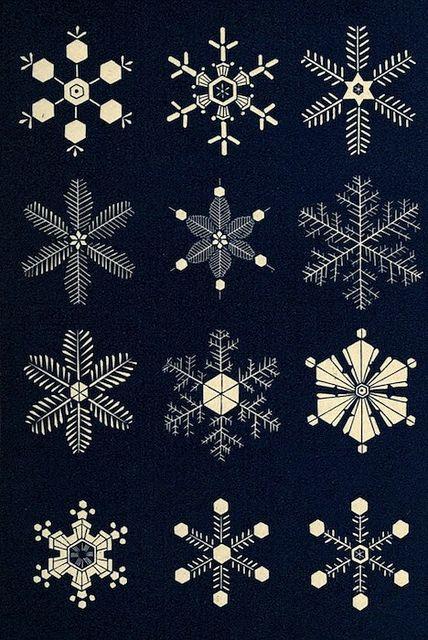 Des illustrations Victoriennes de flocons de neige