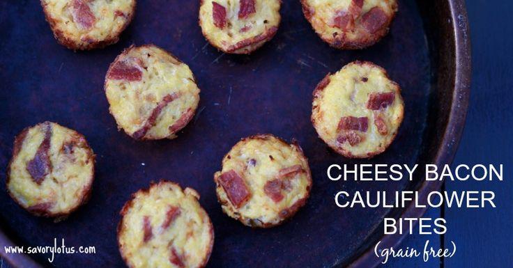 #LowCarb Cheesy Bacon Cauliflower Bites Shared on https://www.facebook.com/LowCarbZen
