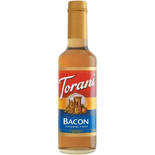 I'm putting this on the board with drinks because I think it adds a magical touch to Bloody Marys. - Torani Bacon Syrup