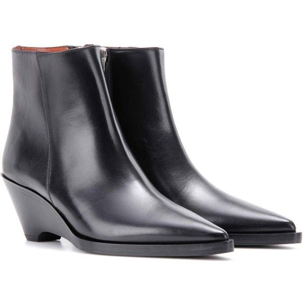 Acne Studios Cony Leather Wedge Ankle Boots (6 095 SEK) ❤ liked on Polyvore featuring shoes, boots, ankle booties, black, black leather bootie, leather wedge booties, black wedge boots, black wedge booties and wedge ankle boots
