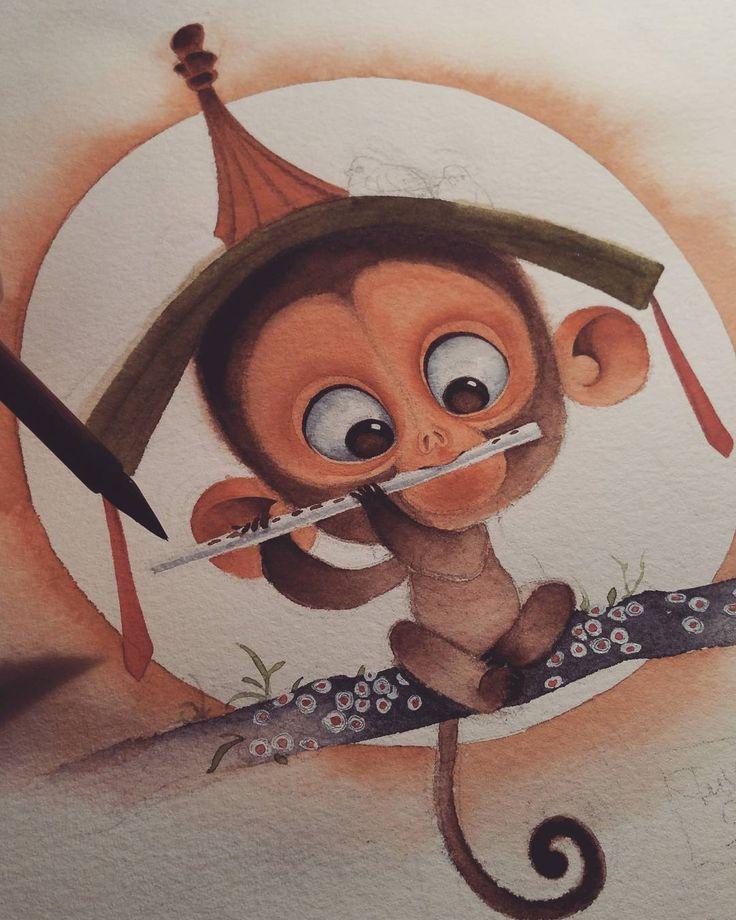Ручную, смешные обезьянки нарисованные картинки