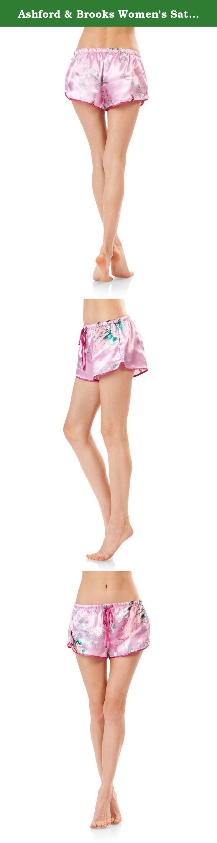 Ashford & Brooks Women's Satin Short Sleeve Pajama Shorts Set - Peacock Blush - Medium. This women's Notch Collar Short Sleeve Pajama Sleep Set from Ashford & Brooks is made out of lightweight silky smooth poly fabric offering a cozy and comfortable yet flattering fit. Short sleeve top features: Notch collar with button down closure, approx. 25.5 from shoulder to hem, chest slip pocket, short sleeves, solid and printed peacock patterns with contrast color piping. Pajama pants with...