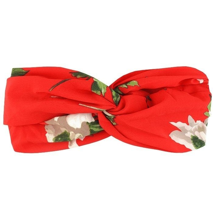 Haarband rood bloemenprint gekruist, haaraccessoire