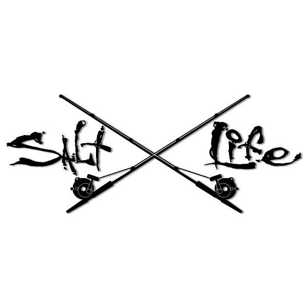 salt life stickers | Salt Life signature sticker with crossed trolling rods in…