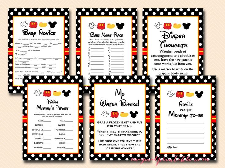 free mickey mouse baby shower games, instant download, mickey mouse baby shower…