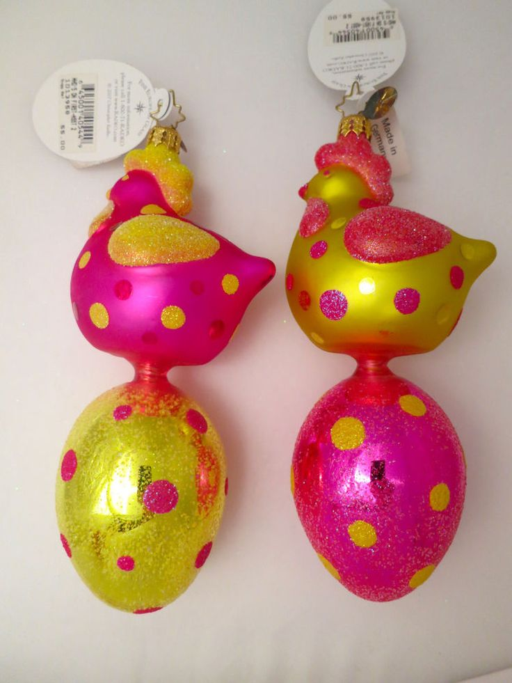 NWT CHRISTOPHER RADKO ORNAMENTS (2) SET Who's on 1st Chicken & Egg GERMANY NEW