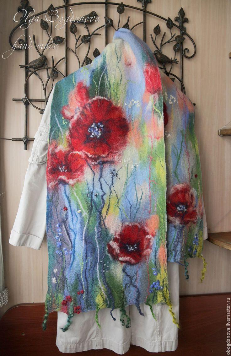 """Купить """"Цветочек альнький.."""" шарф палантин валяный - мак, маки, Красный цветок, цветы"""