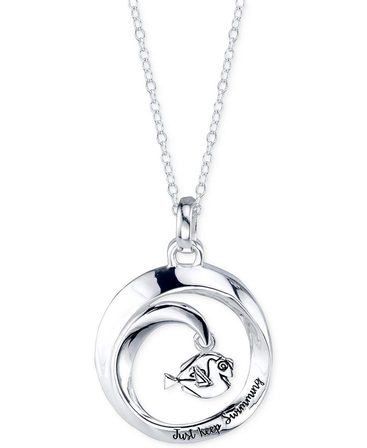 "Disney Finding Dory ""Just Keep Swimming"" Round Pendant Necklace in Sterling Silver"