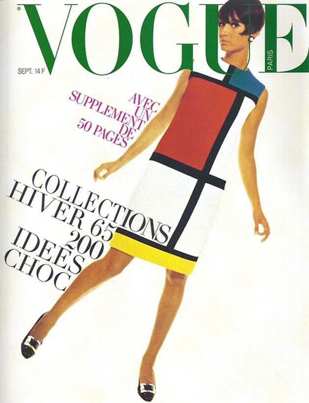 Aqui o vestido de Yves Saint Laurent em cores, na capa da