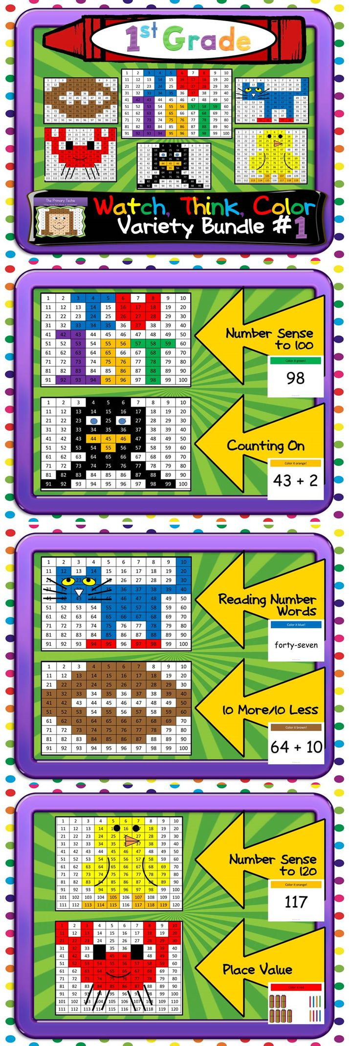 A variety of skills just right for first graders!  Using a hundreds chart, number sense to 120, counting on, place value, and more!  Each game keeps them engaged for 15-20 minutes!  $