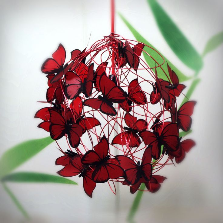"Lamp with red butterflies ""Virgin Mary""."