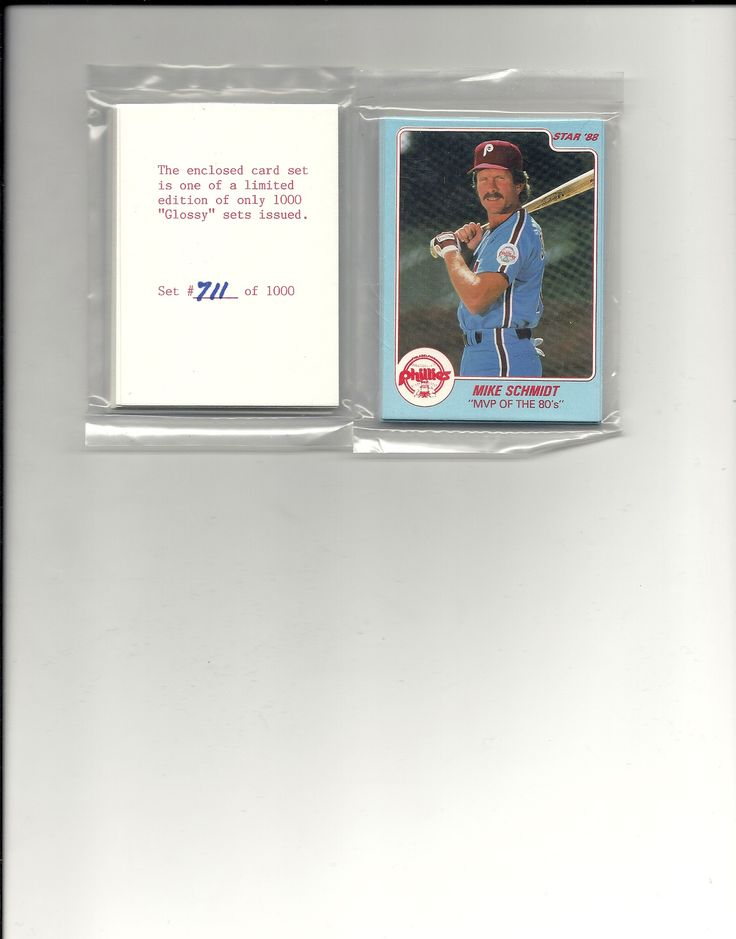 1988 Mike Schmidt star company glossy set Philadelphia Phillies #ed out of 1000