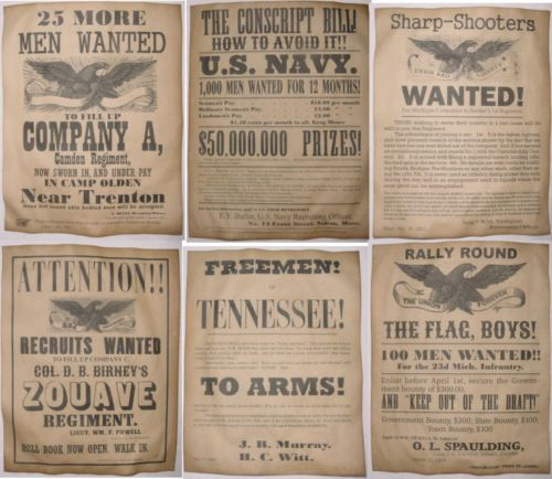 Set-of-6-Civil-War-Recruiting-Posters-Sharpshooters-Zouave-Tennessee-NJ-more