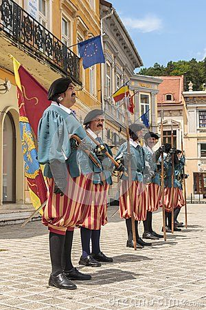 Medieval royal guards in the Council Square in Brasov, one of the most popular saxon medieval city in Romania.