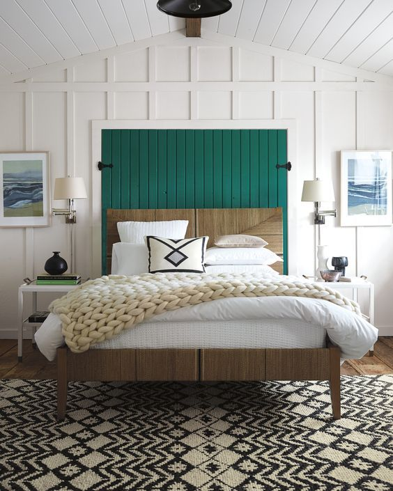 Black and white bedroom, Kelly green headboard.